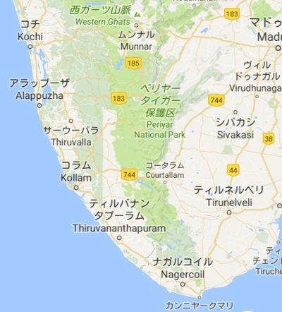 南インドの地図