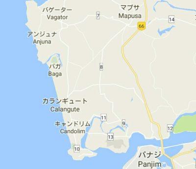 パナジ周辺の地図