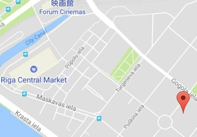 リガにあるベラルーシ大使館の地図