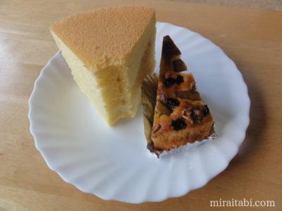 シフォンケーキとりんごとくるみのケーキ