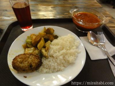 ハンバーグと野菜の料理