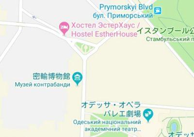ホステルの地図