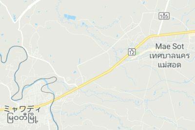 メーソートとミャワディの地図