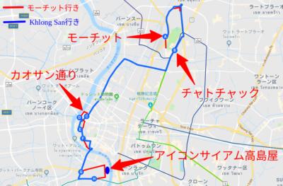 3番バスのルートマップ