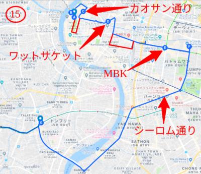 15番バスのルートマップ