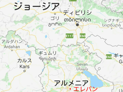 アルメニアとジョージアの地図