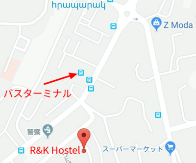 R&Kホステルの地図