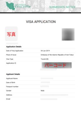 ビザ申請書