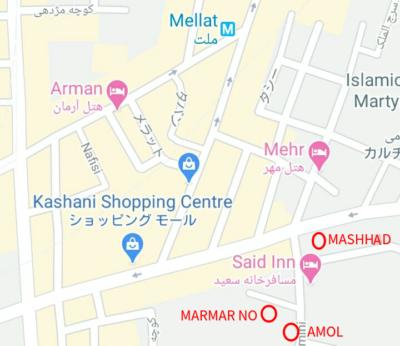 テヘラン安宿マップ