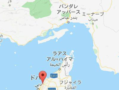 イランとUAEの地図