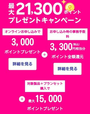 21300ポイント還元キャンペーン